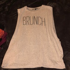 muscle shirt that has BRUNCHwritten on the front